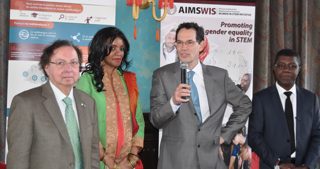 In this photo (l-r) Howard Alper, Canada, Mpule Kwelagobe (UN Goodwill Ambassador), Neil Turok (Founder AIMS), Thierry Zomahoun (Chairperson NEF, President/CEO AIMS)