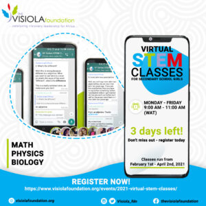 2021 Virtual STEM Classes from February 1st - April 2nd.